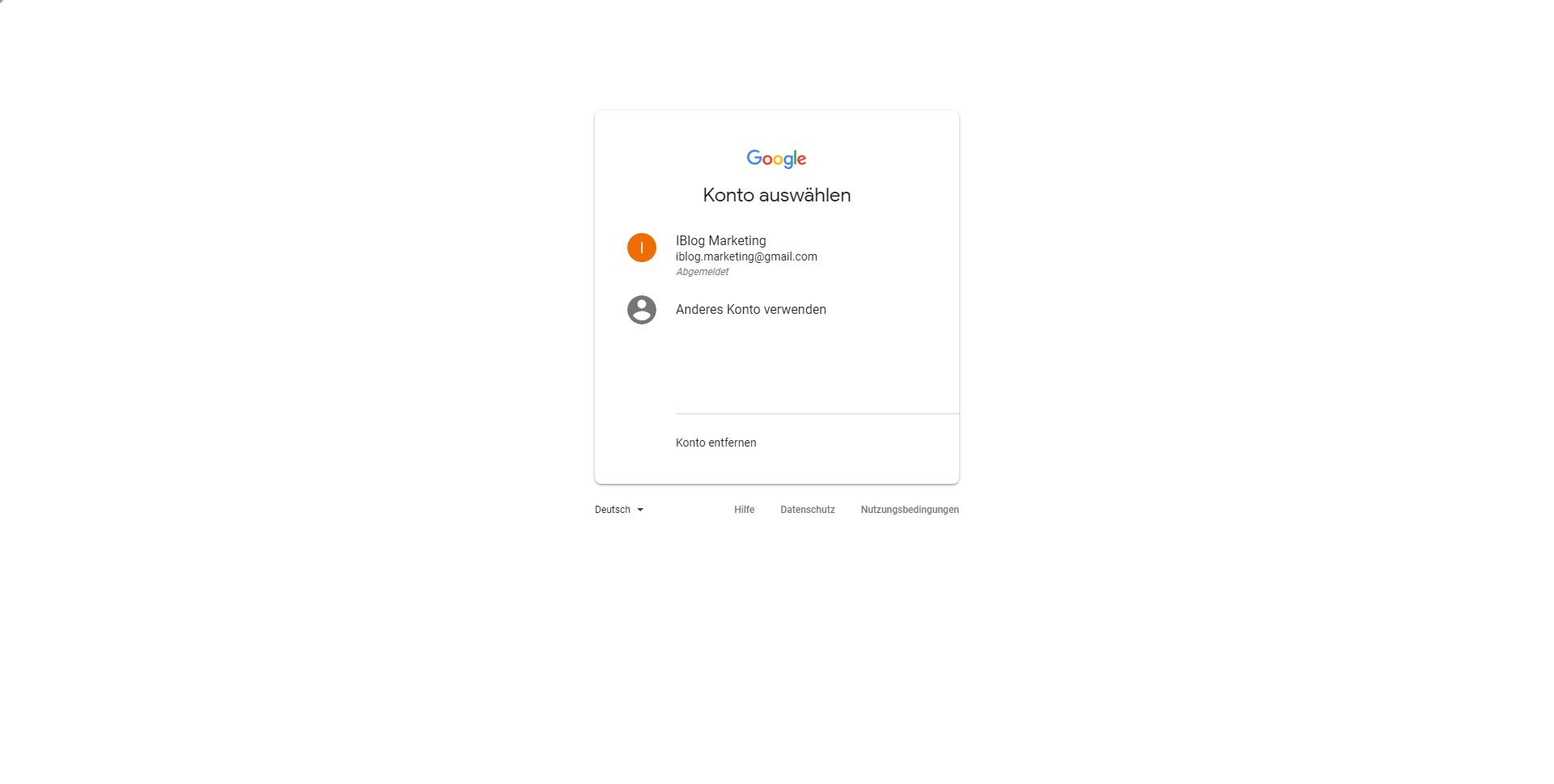 Google Ads Anmeldung - Google Konto auswählen