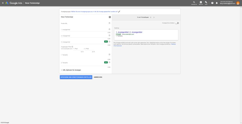 Neue Textanzeige in Google-Ads