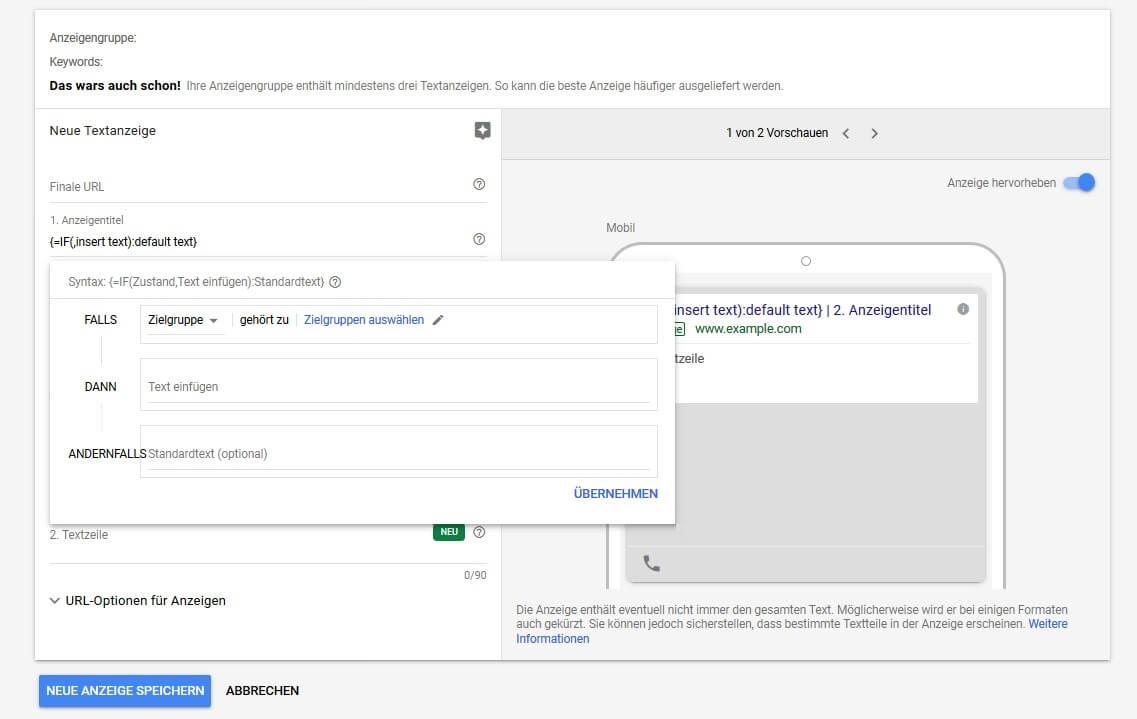 Google Ads: IF-Funktion für Anzeigen und Zielgruppen
