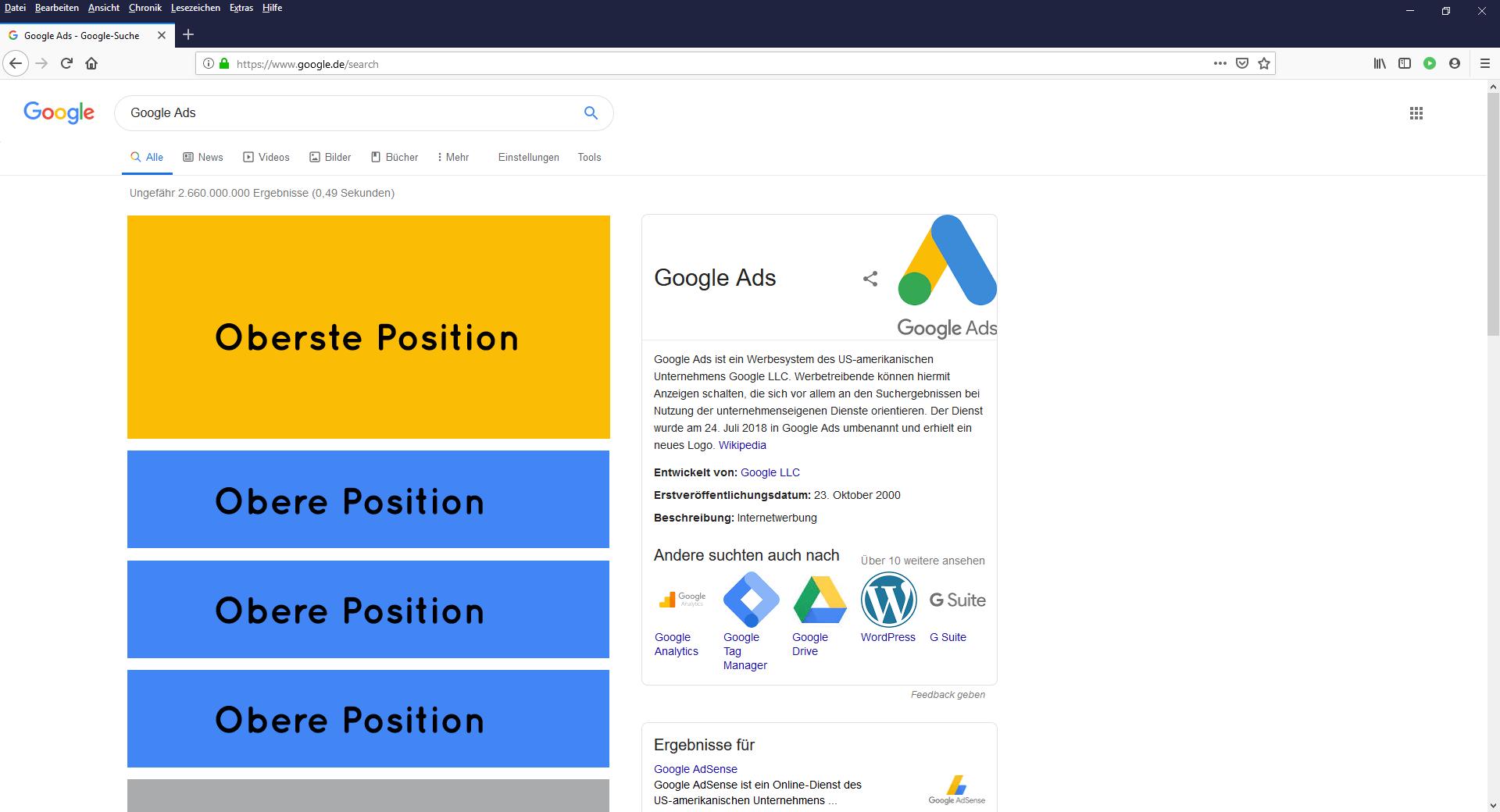 Google Ads oberer und oberster Position