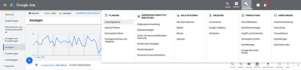 Google Ads Tools und Einstellugen