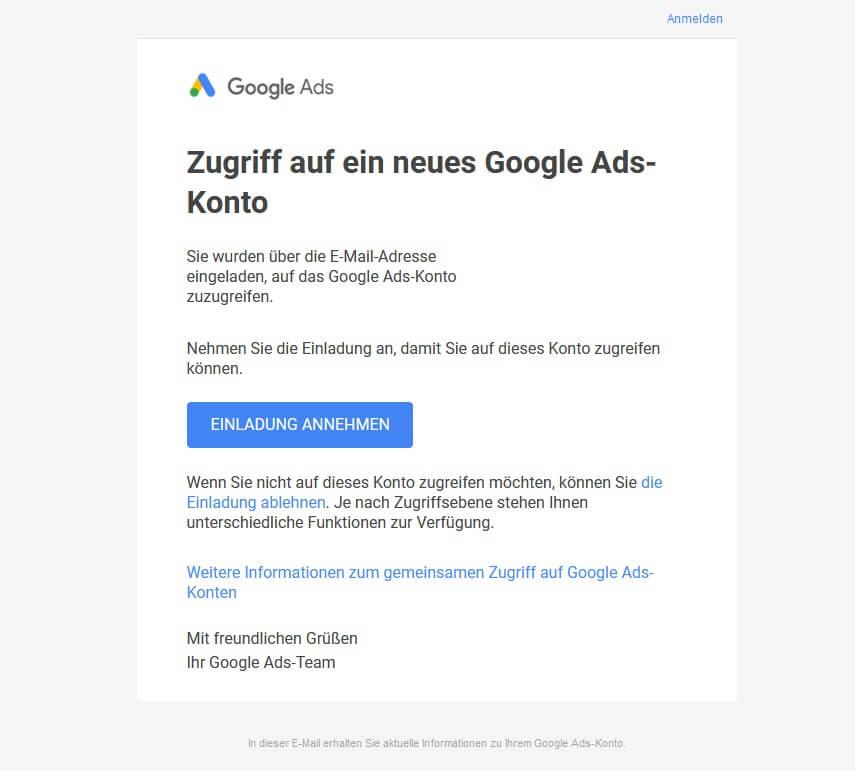 Sie wurden zum Zugriff auf ein Google Ads-Konto eingeladen